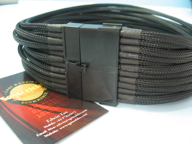 (PSU to Mobo)24 Pins Uni-Sleeved ATX Extension Cable -Black/30cm