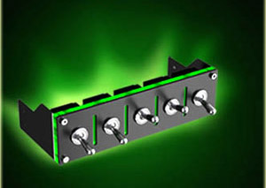5 Port Inedepent Militray Switch- Anodized Black-Green LED