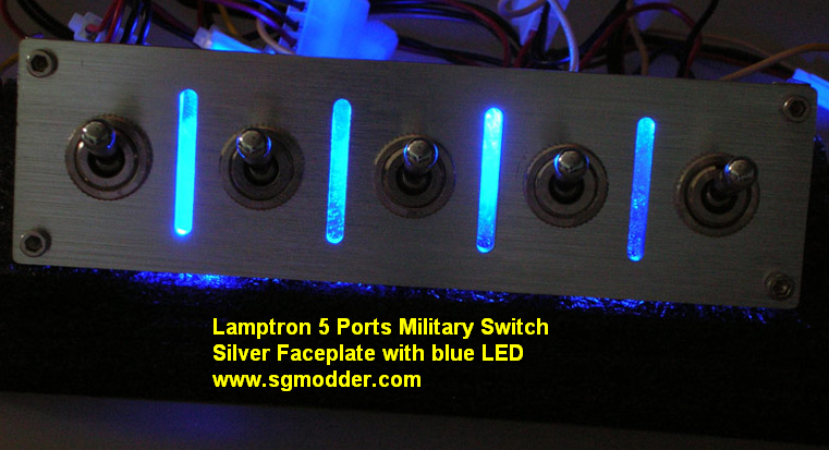 5 Port Inedepent Militray Switch -Anodized Silver-Blue LED