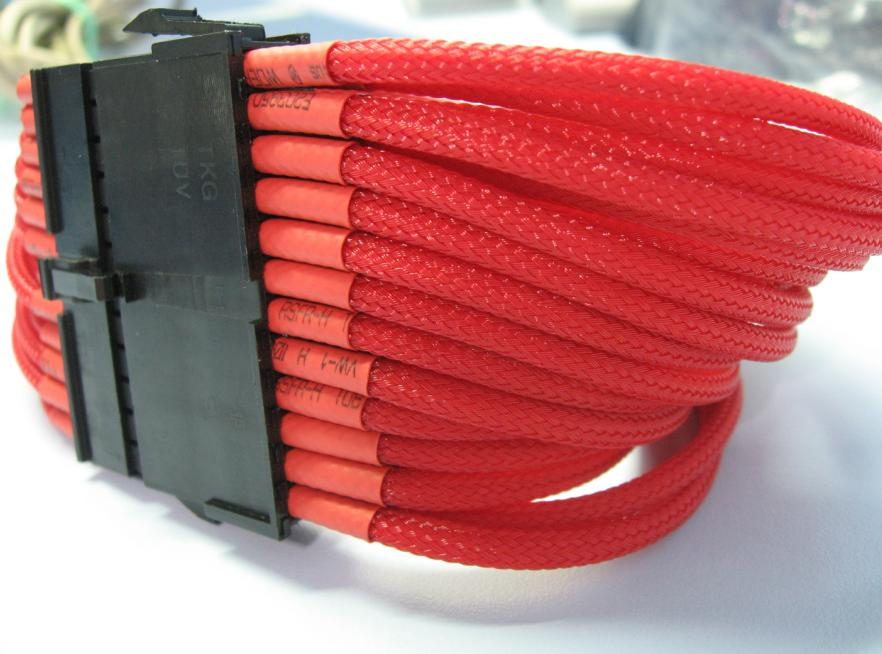 (PSU to Mobo)24 Pins Uni-Sleeved ATX Extension Cable -Red/30cm